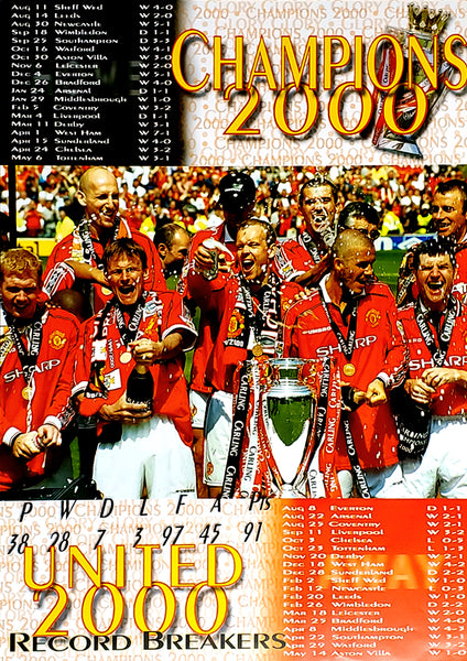 "Manchester United 2000 Premier League Champions ""Record Breakers"" Poster - U.K. 2000"