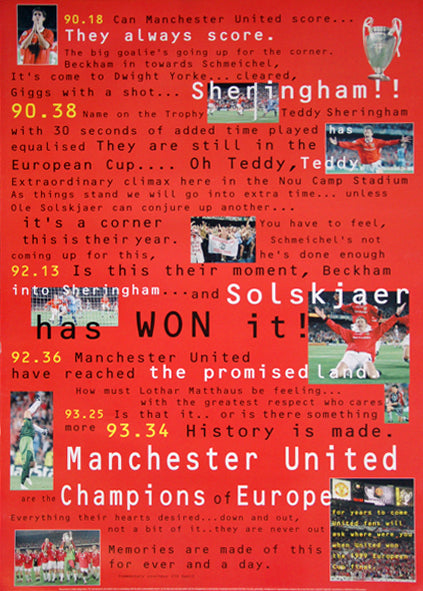 "Manchester United ""Promised Land"" (European Cup Champions 1999) Commemorative Poster - UK"