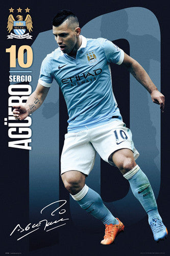 "Sergio Aguero ""Signature Series"" Manchester City FC Official EPL Football Poster - GB Eye 2015/16"