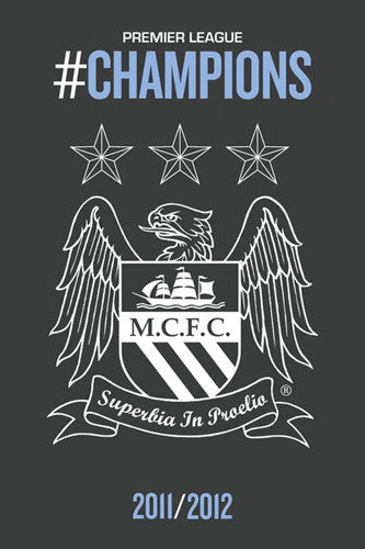 "Manchester City ""Champions 2011/12"" Team Crest Poster - GB Eye"