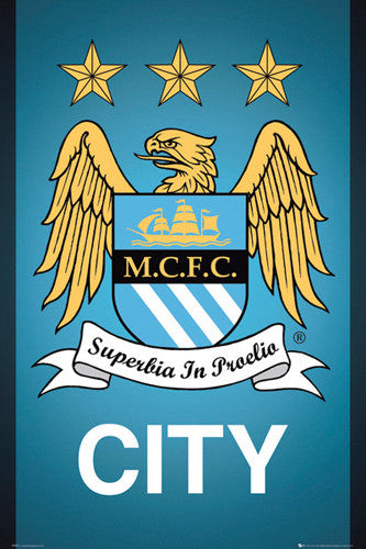 Manchester City FC Official EPL Team Crest Poster - GB Eye (UK)