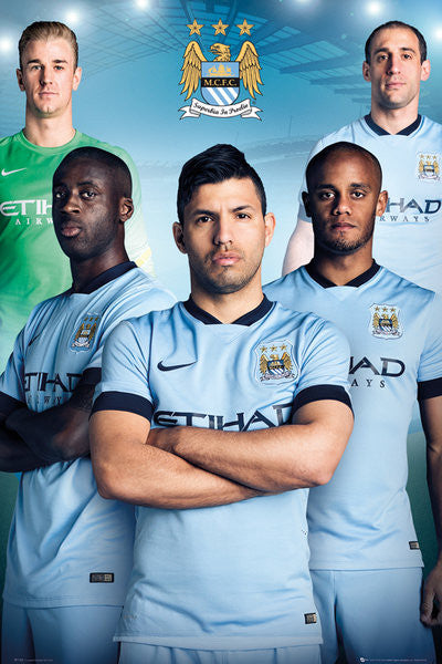 "Manchester City FC ""Big Five"" (2014/15) Official EPL Soccer Poster - GB Eye (UK)"