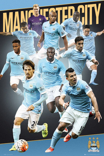 "Manchester City ""Superstars"" (10 Players In Action) Official EPL Soccer Poster - GB Eye 2015/16"