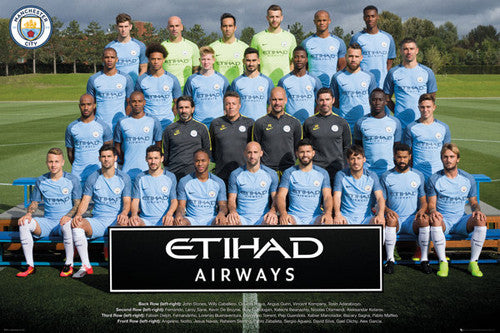 Manchester City FC Official Team Portait 2016/17 EPL Poster - GB Eye (UK)