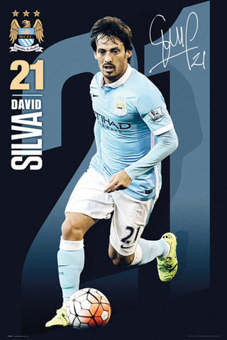 "David Silva ""Signature Series"" Manchester City FC Official EPL Football Poster - GB Eye 2015/16"