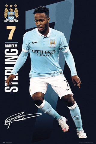"Raheem Sterling ""Signature Series"" Manchester City FC Official EPL Football Poster - GB Eye 2015/16"