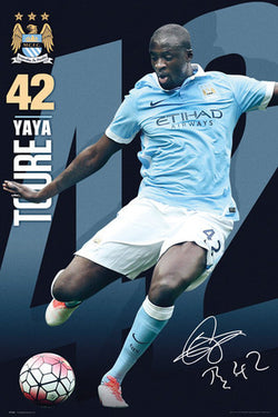 "Yaya Toure ""Signature Series"" Manchester City FC Official EPL Football Poster - GB Eye"