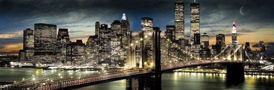 New York City Skyline from Brooklyn Bridge HUGE Wall-Sized Poster - GB Eye