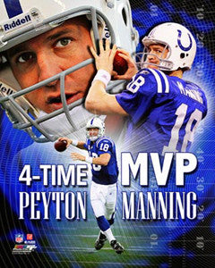 "Peyton Manning ""Four-Time MVP"" Indianapolis Colts Premium Poster Print - Photofile 16x20"