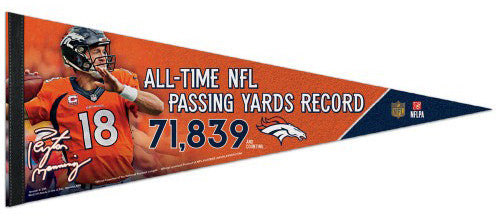 Peyton Manning NFL All-Time Passing Yards Record Commemorative Felt Pennant - Wincraft 2015
