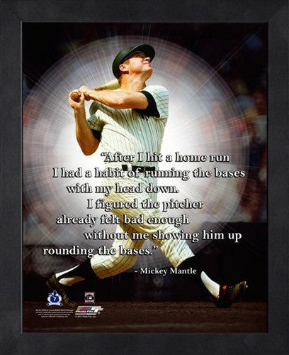 "Mickey Mantle ""Head Down"" New York Yankees Classic FRAMED 16x20 PRO QUOTES PRINT - Photofile"