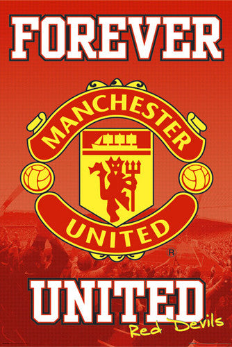 "Manchester United ""Forever United"" EPL Official Team Crest Logo Poster - GB Eye (UK)"