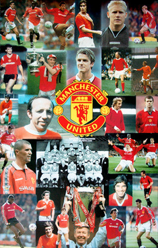 Manchester United Legends Collage (30+ Superstars) Soccer Poster - Starline Inc.