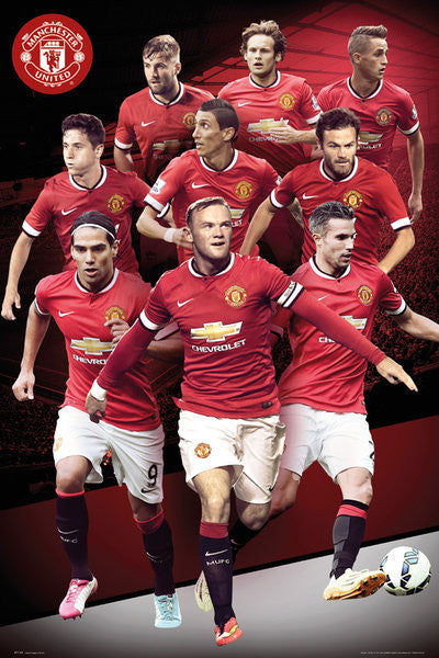 "Manchester United ""Big Nine"" EPL Soccer Action Poster - GB Eye (UK)"