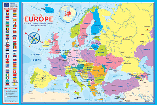 Map of Europe (50 Nations) 24x36 Wall Poster - Eurographics Inc.