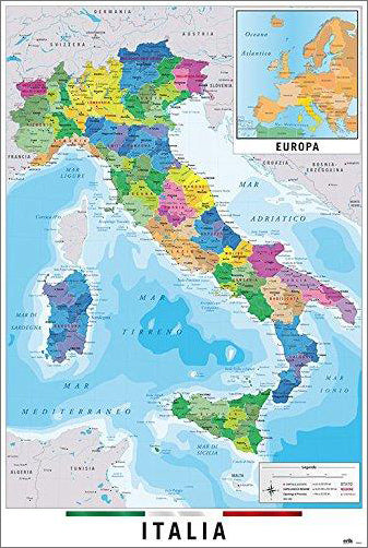 Map of Italy Italia Wall Chart Poster (Regions, Capitals, Cities, Roads, Rivers, etc.) - Grupo Erik