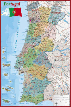 Map of Portugal Wall Chart Poster (Regions, Capitals, Cities, Roads, Rivers, etc.) - Grupo Erik