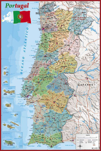 Portugal Map Wall Chart Poster (Regions, Capitals, Cities, Roads, Rivers, etc.) - Grupo Erik