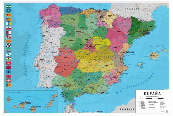 Map of Spain Wall Chart Poster (Regions, Capitals, Cities, Roads, Rivers, etc.) - Grupo Erik