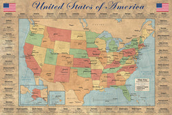 "United States of America ""States and Capitals"" Wall Map Poster - Pyramid America"