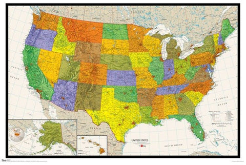 Wall Map of USA Poster - Trends International Inc.