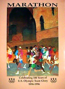 Olympic Marathon Running Poster Print by Mark English (USOC 100 Years) - Fine Art Ltd.