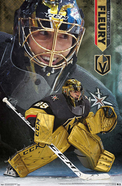 "Marc-Andre Fleury ""Golden Star"" Vegas Golden Knights NHL Hockey Action Poster - Trends International"