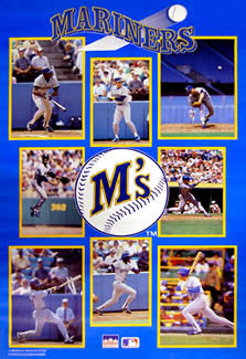 Seattle Mariners 8-Player MLB Action Poster (1988) - Starline Inc.