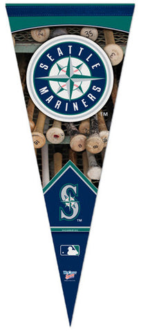 Seattle Mariners Dual-Logo Vertical Official MLB Baseball Team Premium Felt Pennant - Wincraft Inc.