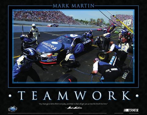 "Mark Martin ""Teamwork"" NASCAR Viagra Ford #6 Poster - Time Factory 2004"
