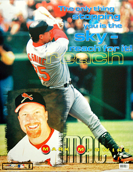 "Mark McGwire ""Reach for the Sky"" St. Louis Cardinals Motivational Poster - Photo File 1999"