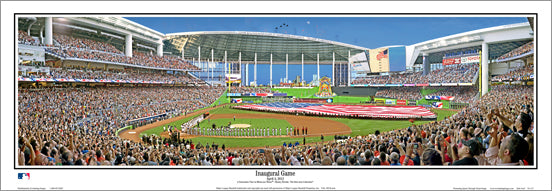 Marlins Park Inaugural Game Miami Marlins Panoramic Poster Print - Everlasting 2012