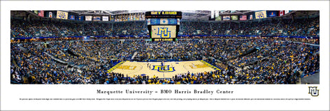 Marquette Golden Eagles Basketball Bradley Center Game Night Panoramic Poster Print - Blakeway 2018