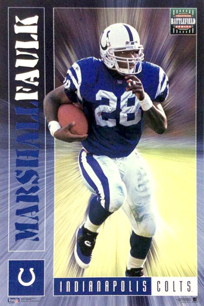 "Marshall Faulk ""Battlefield"" Indianapolis Colts NFL Action Poster - Costacos 1995"