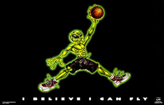 "Basketball Alien ""I Believe I Can Fly"" Poster - OLEAS 1998"