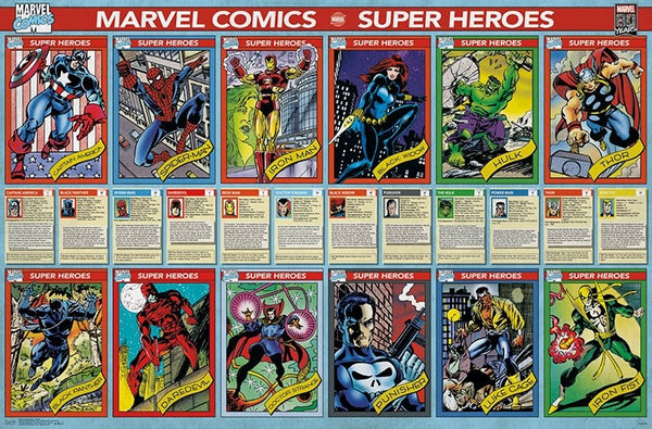 Marvel Comics 12 Classic Super Hero Characters Official Collectible Wall Poster - Trends International
