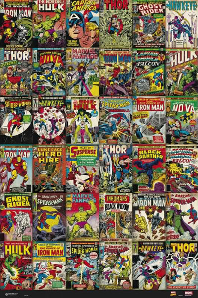 Marvel Comics Universe 36 Historic Covers On One Poster - Grupo Erik
