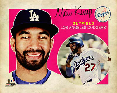 "Matt Kemp ""Retro SuperCard"" Los Angeles Dodgers Premium Poster Print - Photofile 16x20"
