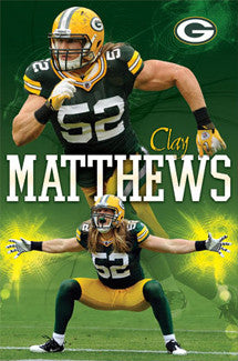 "Clay Matthews ""Power"" Green Bay Packers NFL Poster - Costacos 2011"