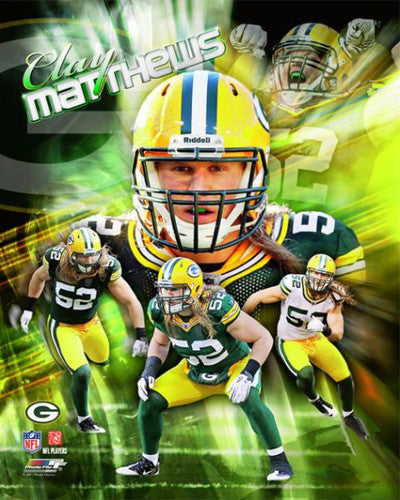 "Clay Matthews ""Explosion!"" Green Bay Packers Premium Poster Print - Photofile 16x20"