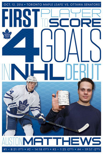 Auston Matthews 4-Goal Debut Toronto Maple Leafs Official Commemorative POSTER - Trends 2016