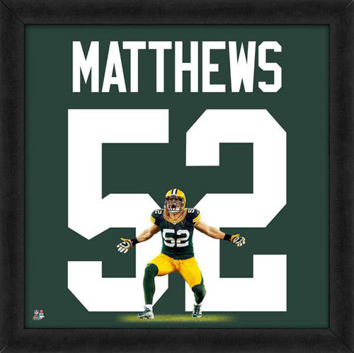 "Clay Matthews ""Number 52"" Green Bay Packers FRAMED 20x20 UNIFRAME PRINT - Photofile"