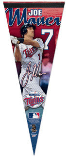 "Joe Mauer ""Signature"" Minnesota Twins Premium Felt Collector's Pennant (L.E. /2,009) - Wincraft Inc."