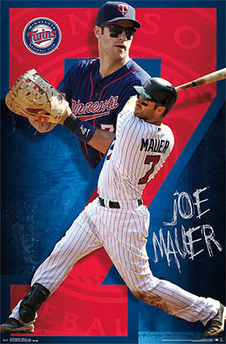 "Joe Mauer ""Super Seven"" Minnesota Twins MLB Action Wall Poster - Costacos 2014"
