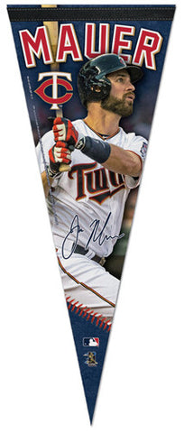 "Joe Mauer ""Signature Series"" Minnesota Twins Official MLB Premium Felt Pennant - Wincraft Inc."