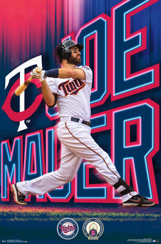 "Joe Mauer ""Blast"" Minnesota Twins Baseball Action Poster - Trends 2016"