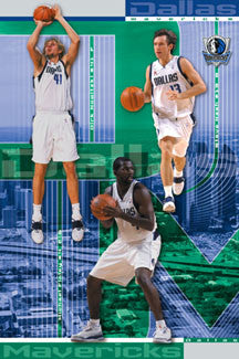 "Dallas Mavericks ""Three Stars"" Poster (Dirk Nowitzki, Steven Nash, Michael Finley) - Costacos 2002"