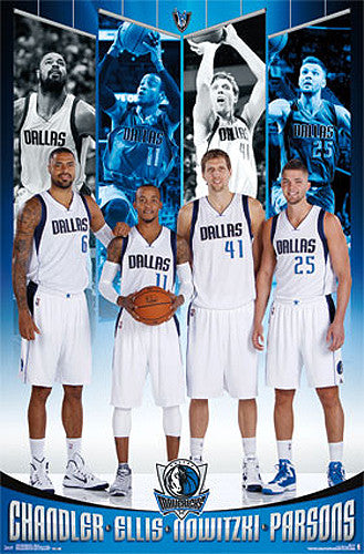 "Dallas Mavericks ""Big Four"" Poster (Nowitzki, Chandler, Parsons, Ellis) - Costacos 2015"