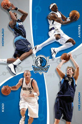 "Dallas Mavericks ""Four Stars"" Poster (Nowitzki, Terry, Howard, Kidd) - Costacos 2008"