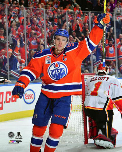 "Connor McDavid ""Beat the Flames"" Edmonton Oilers Premium Poster Print - Photofile 16x20"